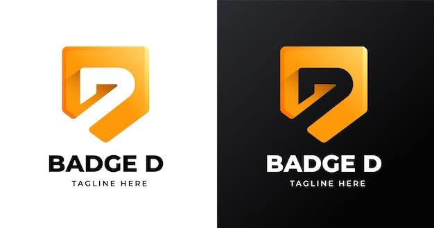 Letter d-logo-ontwerpsjabloon met badge-vormstijl