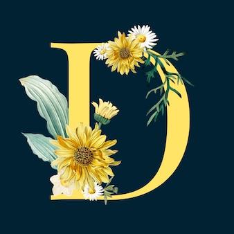 Letter d met bloemen