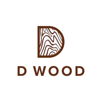 Letter d met bruin hout creatief uniek eenvoudig strak geometrisch modern logo-ontwerp