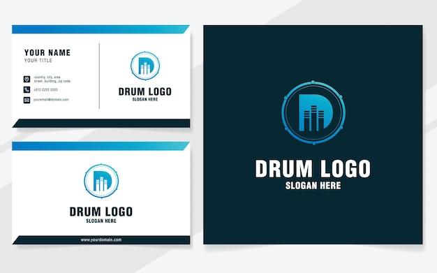 Letter d met drum logo sjabloon op moderne stijl