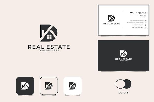 Letter d met huis onroerend goed logo-ontwerp en visitekaartje