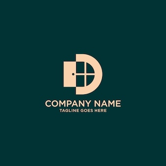 Letter d monogram venster logo ontwerp inspiratie icoon voor eenvoudige elegante luxe