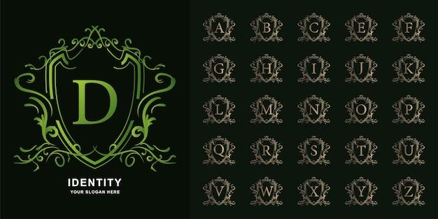 Letter d of collectie eerste alfabet met luxe sieraad bloemen frame gouden logo sjabloon.