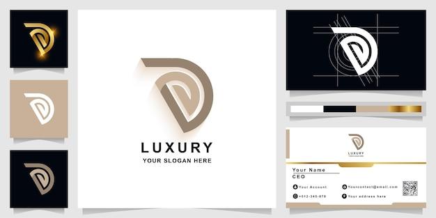 Letter d of pd monogram logo sjabloon met visitekaartje ontwerp
