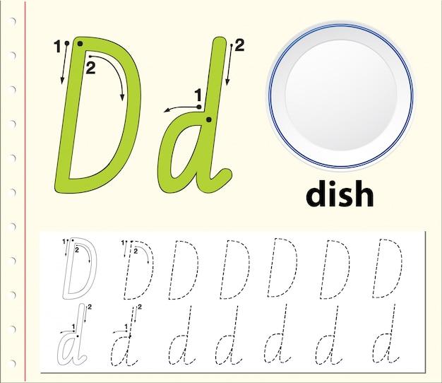 Letter d tracing alfabet werkbladen