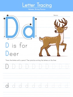 Letter d tracing animal alphabet d voor herten