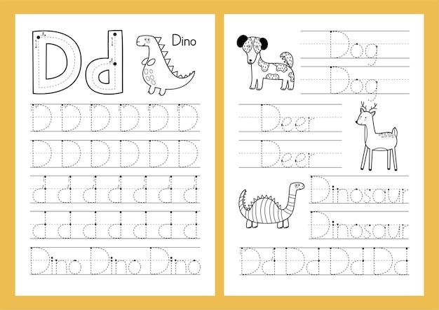 Letter d tracing oefenblad set