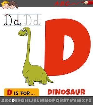 Letter d uit alfabet met dinosaurus stripfiguur