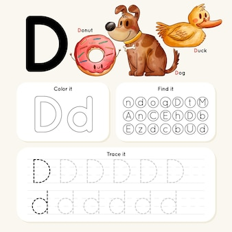 Letter d-werkblad met dieren en donut