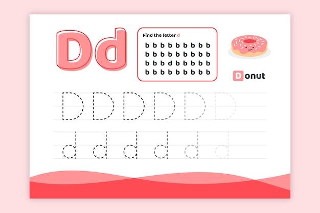 Letter d-werkblad met donut