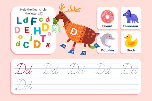 Letter d-werkblad met herten