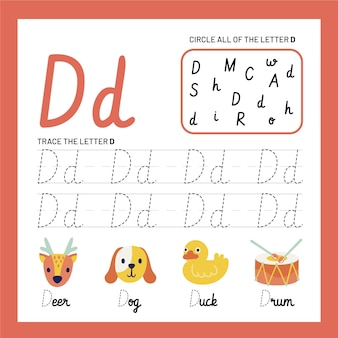 Letter d-werkbladsjabloon