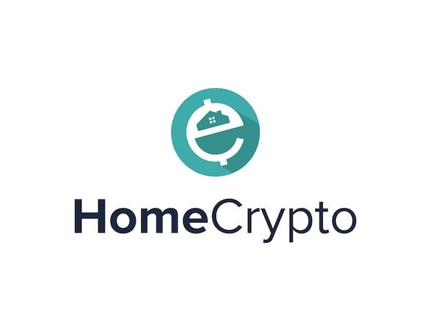 Letter e crypto en huis eenvoudig gestroomlijnd creatief geometrisch modern logo-ontwerp