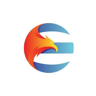 Letter e eagle logo vector