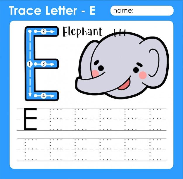 Letter e hoofdletters - alfabetletters overtrekken werkblad met olifant