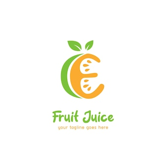 Letter e limoen sinaasappel vruchtensap logo pictogrammalplaatje