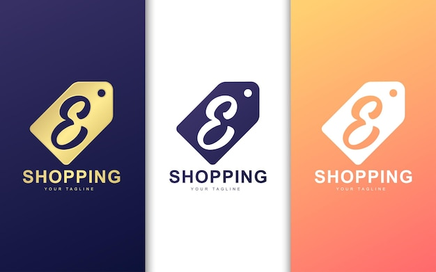 Letter e-logo in prijskaartje. modern winkelen logo concept
