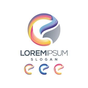 Letter e logo kleurverloop