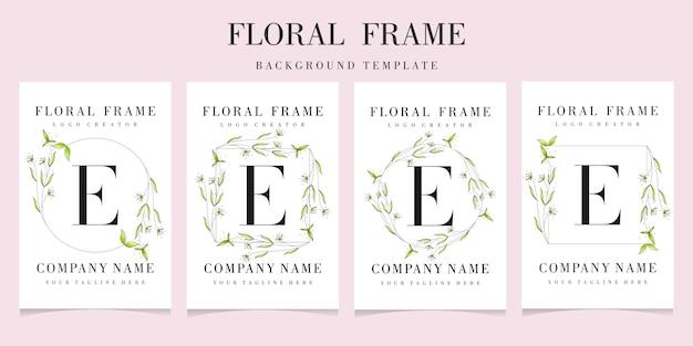 Letter e-logo met bloemen frame ingesteld