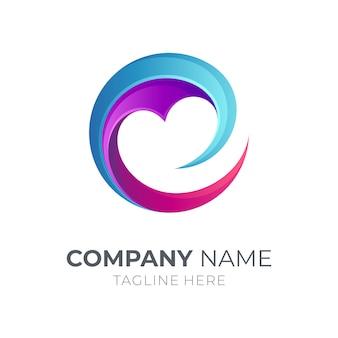 Letter e-logo met liefde / hart