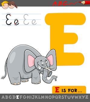 Letter e met cartoon olifant