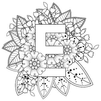 Letter e met mehndi bloem decoratief ornament in etnische oosterse stijl kleurboekpagina