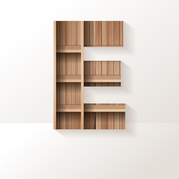 Letter e-ontwerp van houten plank