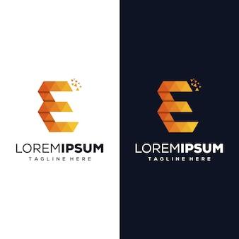 Letter e pixel logo-ontwerp
