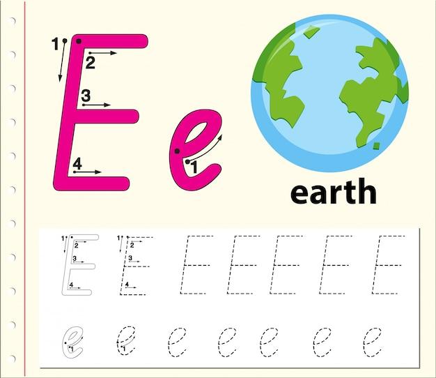 Letter e tracing alfabet werkbladen
