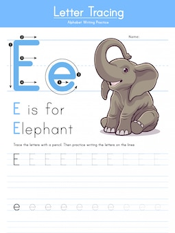 Letter e tracing animal alphabet e voor olifant