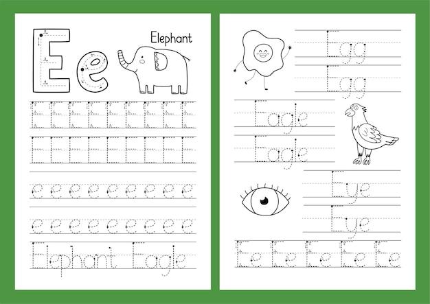 Letter e tracing oefenblad set
