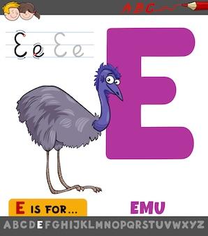 Letter e-werkblad met cartoon emoe vogel