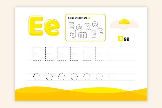 Letter e-werkblad met ei