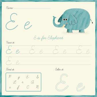 Letter e-werkblad met illustratie van een olifant