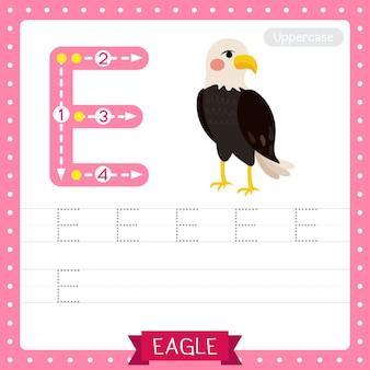 Letter e werkblad voor het traceren van hoofdletters. staande adelaar