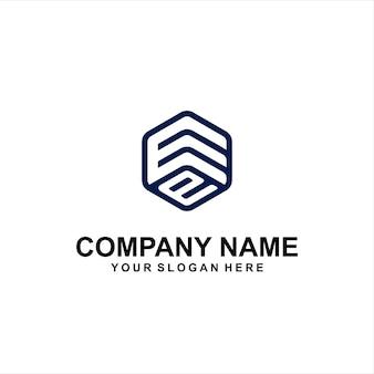 Letter e zeshoek logo