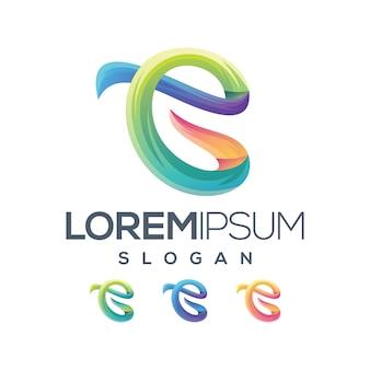 Letter ec gradiënt collectie logo