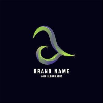 Letter een abstract logo-ontwerp met verloopkleur