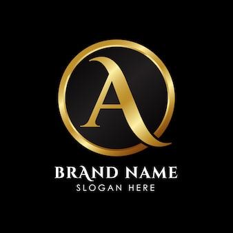Letter een eerste logosjabloon in goudkleur