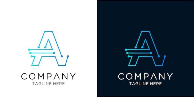 Letter een logo ontwerp zakelijke bedrijfstechnologie in lineaire overzichtsstijl