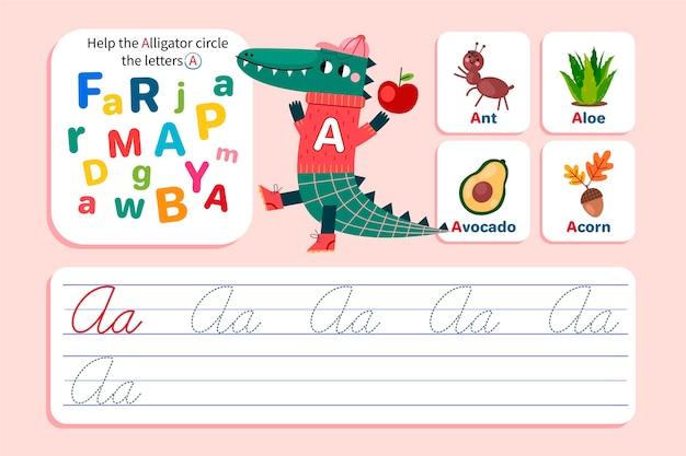 Letter een werkblad met alligator