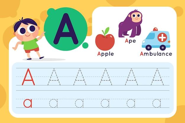 Letter een werkblad met appel en ambulance