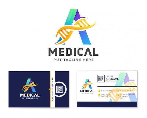 Letter eerste logo a en dna met visitekaartje