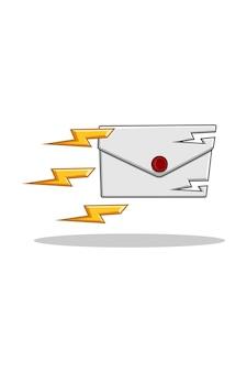 Letter en bliksem cartoon afbeelding