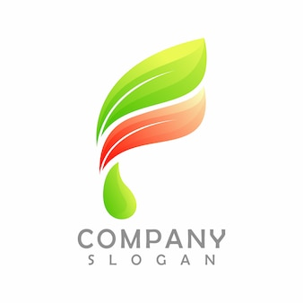 Letter f blad logo, illustratie