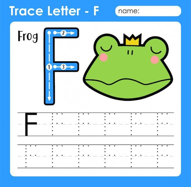 Letter f hoofdletters - alfabetletters overtrekken werkblad met frog