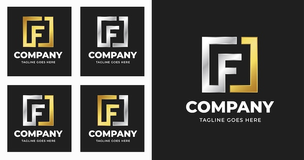 Letter f-logo ontwerpsjabloon met vierkante vorm