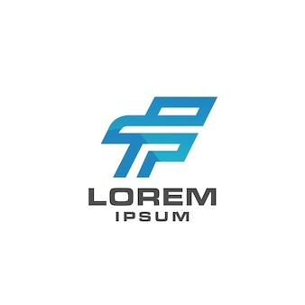 Letter f logo pictogrammalplaatje eenvoudig concept met blauwe kleur
