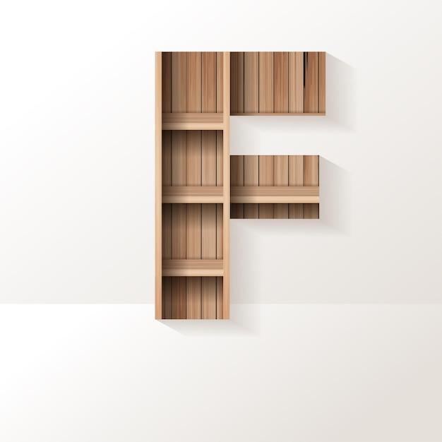 Letter f-ontwerp van houten plank