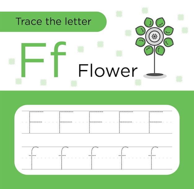 Letter f trace oefenpapier premium vector. alfabet trace